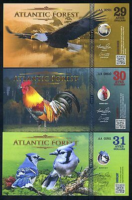 SET Atlantic Forest 29;30;31 Aves Dollars 2017 - Bald Eagle, Rooster, Blue Jay