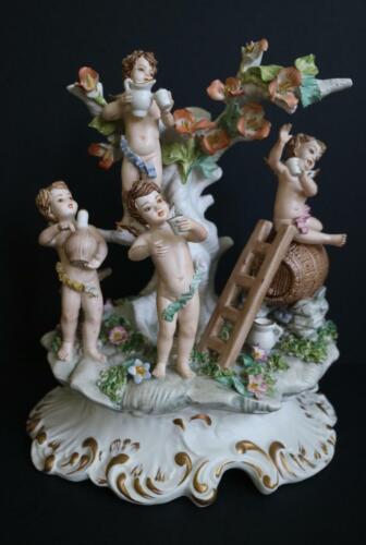 Vintage Italian capodimonte Wine putti angels porcelain group statue 1970