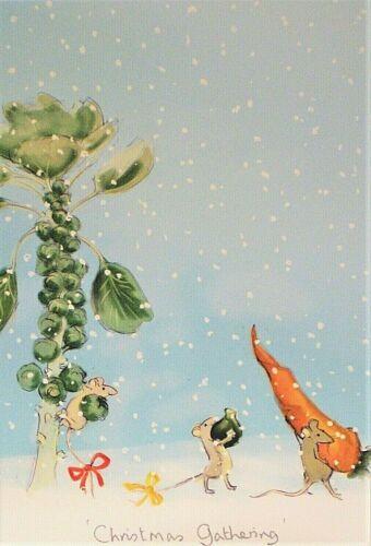Art Greeting Card Christmas Gathering Snow Winter Julian Williams Two Bad Mice