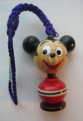 1960's VINTAGE Japanese Wooden MICKEY MOUSE Wood Charm On Cord WALT DISNEY WDP