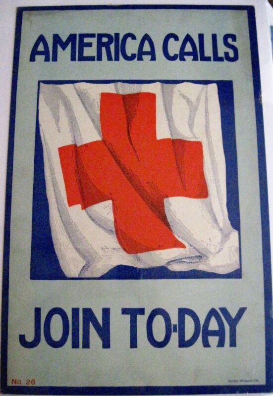 """Vintage Large """"Red Cross"""" Poster """"America Call, Join To-Day"""" *"""