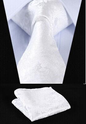 Mens Tie Pure White Woven Ties Necktie Wedding Silk Paisley Floral Hanky 501 Woven 3 Mens Tie