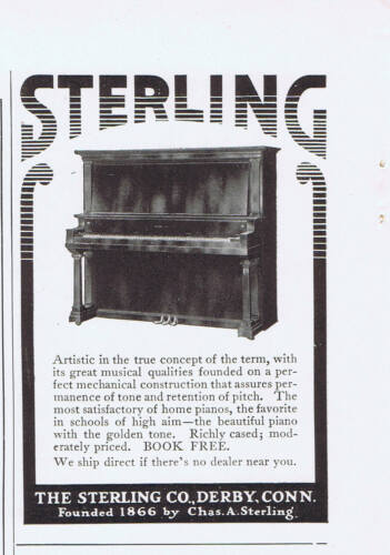 1916 Advertisement - STERLING PIANO CO., DERBY, CN