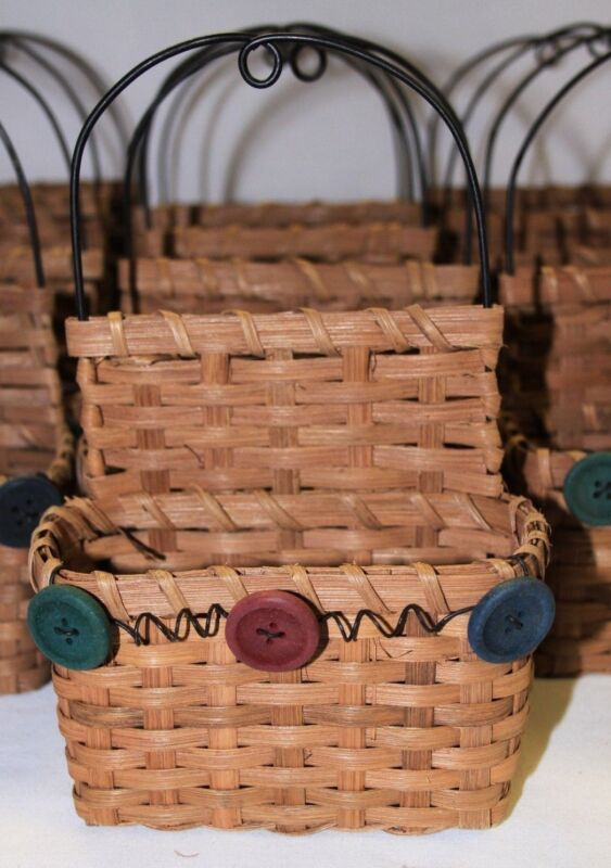 PRICE REDUCED - Lot of 25 Wicker Craft Baskets - Wood Hearts, Buttons & Moose