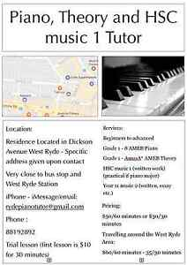 HSC AMEB Music and Piano Tutor West Ryde Ryde Area Preview