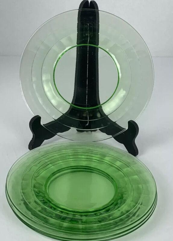 """4 Uranium Glass Plates 8 1/4"""" Block Optic?"""