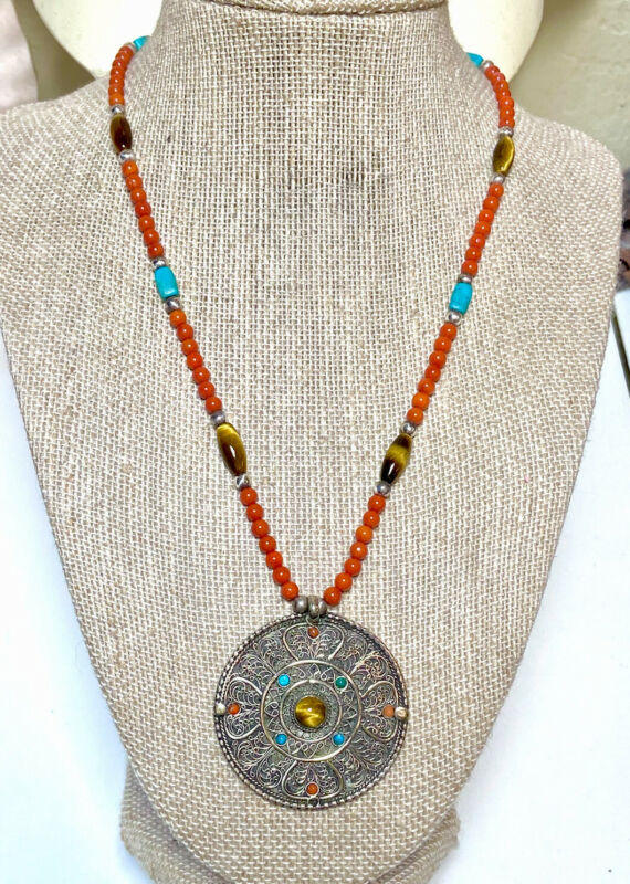 Very Nice Antique/Vintage Sterling Silver Coral, Turquoise, Tiger's Eye Necklace