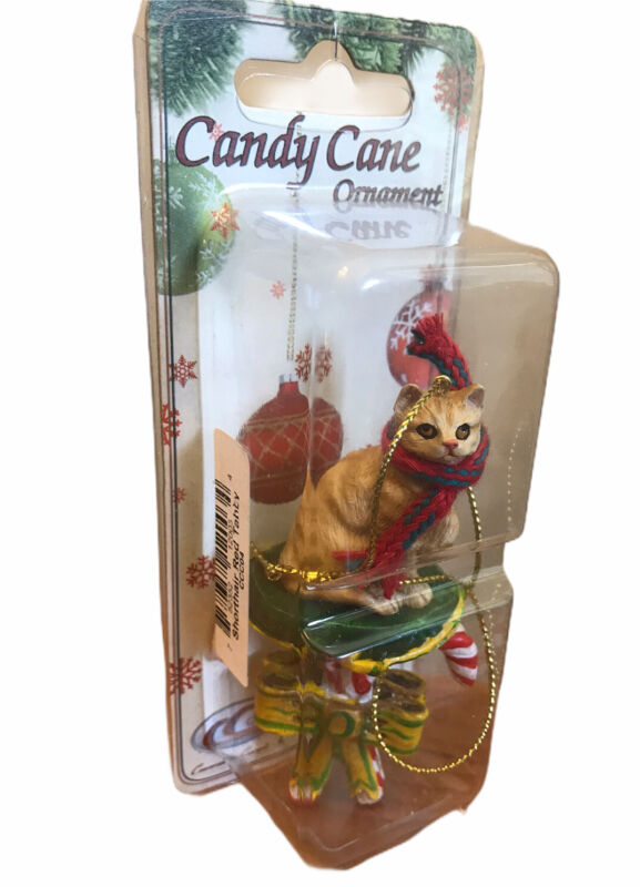 Orange Red Tabby Cat Christmas Ornament Candy Cane Ornament New