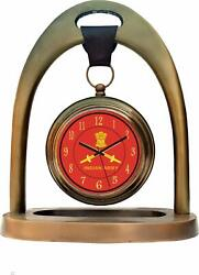Handmade Antique Indian Army Dial Brass Finish Table Desk Clock 8 Inch For Decor