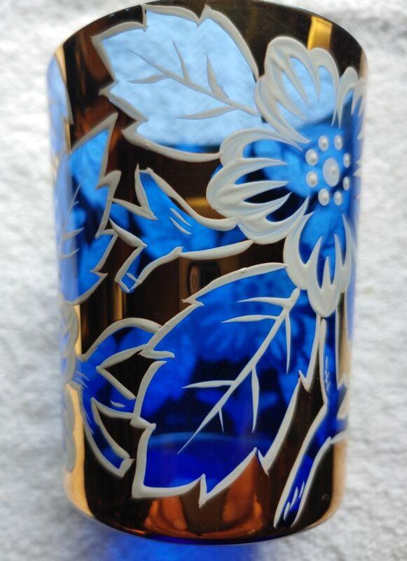 Antique Cobalt Blue & white/Gold Enameled Floral Victorian Tumbler