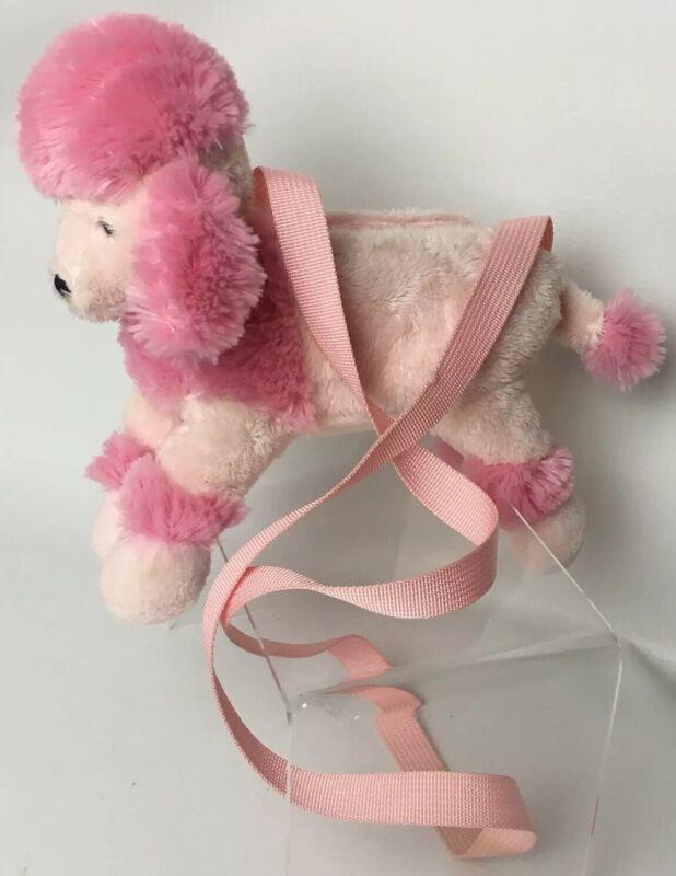 "Russ Pink Poodle Plush Purse Shoulder Bag 9"" x 7"" Little Girls Zipper Tiny Bag"