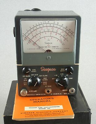 Vintage Simpson Model 311 Analog Vacuum Tube Volt-ohm Meter W Manual Free Ship