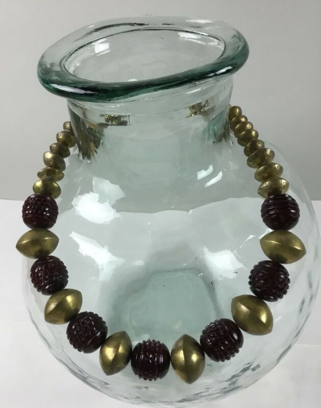 Crosshatch Red Horn Beads African Brass Bicone Necklace