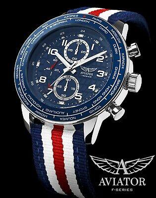 AVIATOR Pilot WATCH Aviation Flight Waterproof 10ATM Quartz Steel Chronograph 🆕 Aviator Pilot Chronograph Watch