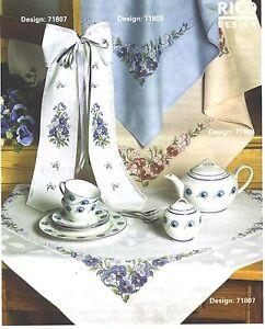 Tischdecke für gezählten Kreuzstich von Rico 90 x 90 cm mit Aidafeld Kompl.Packg