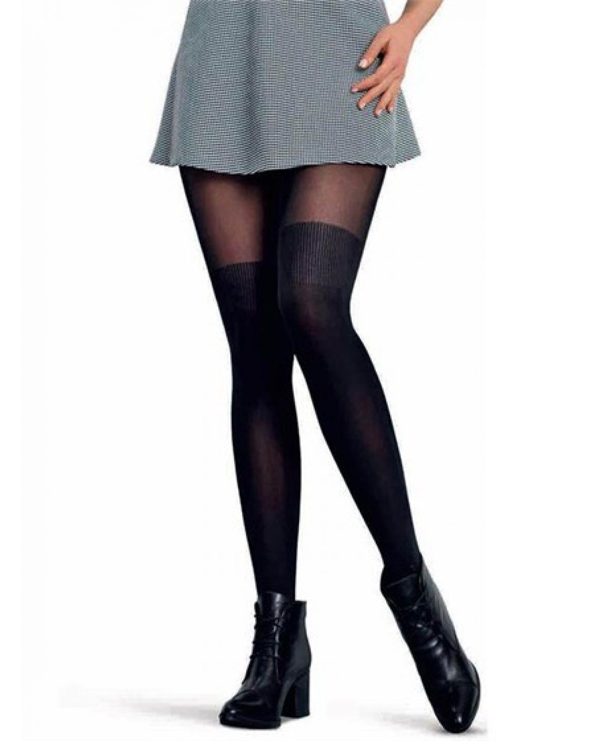 Damen Strumpfhose mit Overknee Effekt, Schick und sportlich (Over Knee)