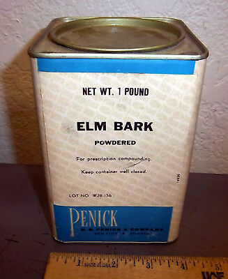 Vintage Penick Elm Bark 1 Pound Tin  Great Colors   Graphics  Partially Full
