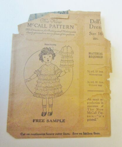 Vintage McCall Doll Pattern -Free Sample