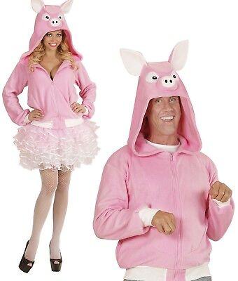 ANT 07010 Schwein Kostüm Schweinchen Jacke Porky Fleece Damen Herren Karneval  - Schweinchen Kostüm