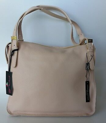INNUE Italy Croc Embossed Genuine Leather Beig Satche -Bag Purse NWT