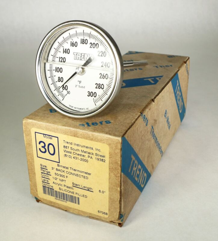 "New in Box TREND Model 30 1/2"" NPT Bimetal Thermometer 6"" Stem 1/2"" NPT J11"