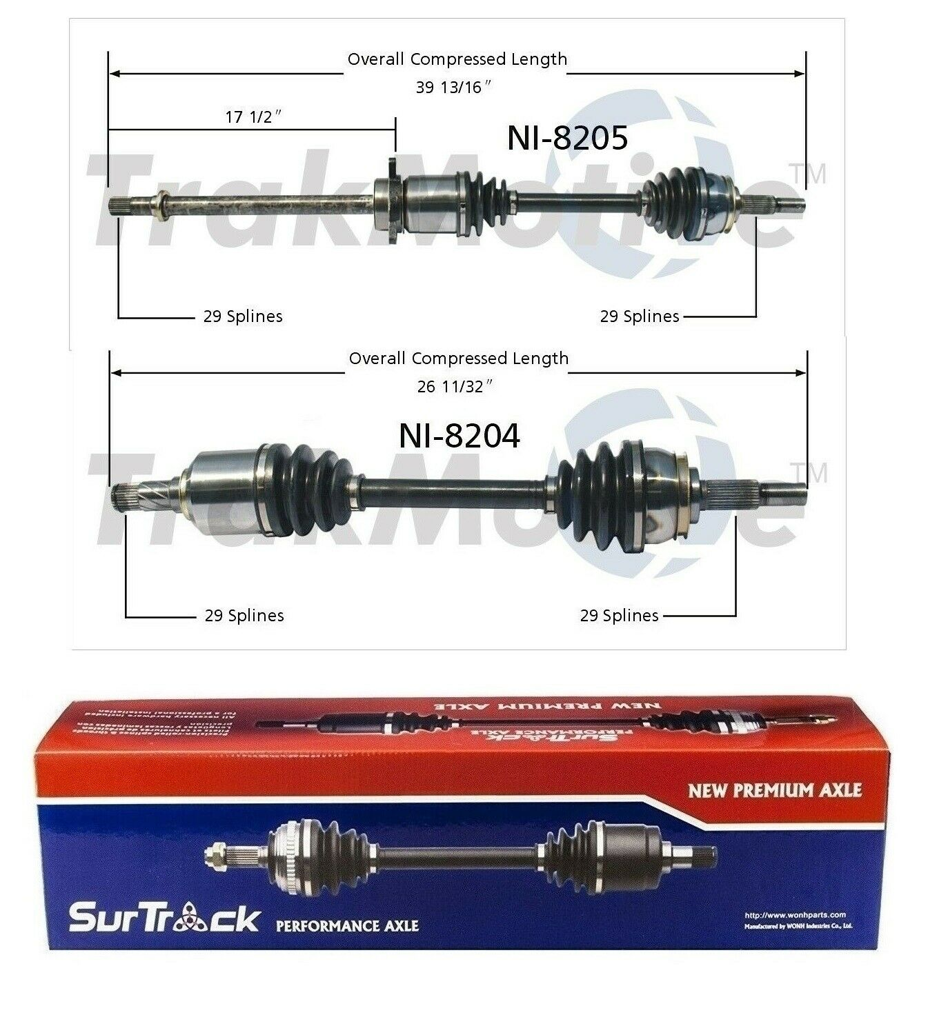 New Surtrack Front Full CV Axle Assembly Shaft Pair for Nissan Murano 03-07 FWD