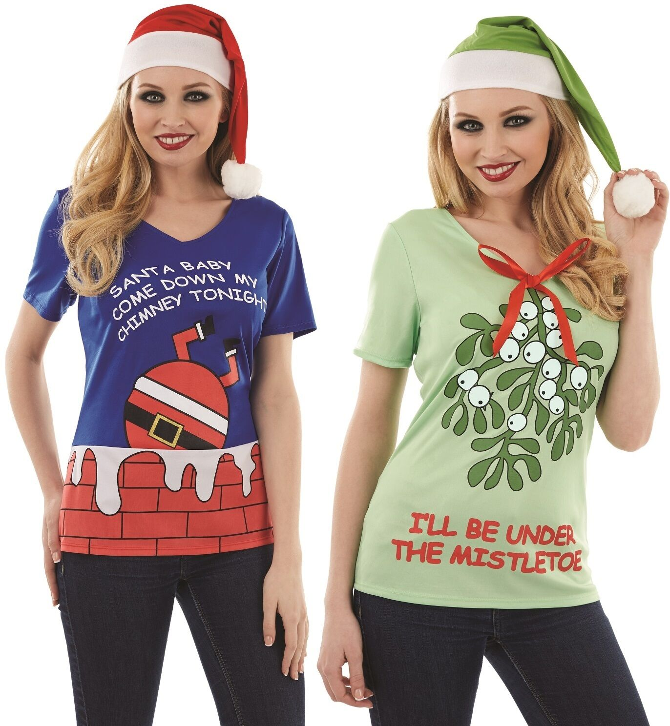 df0e02de1 Details about Ladies Funny Christmas T-Shirt & Hat Secret Santa Fancy Dress  UK 8-22 Plus Size