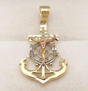 Men's Ladies Womens 10k Tri Color Gold Mariners Anchor Cross Crucifix Pendant