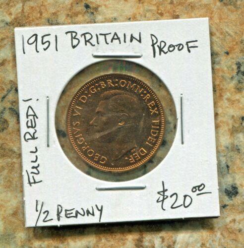 GREAT BRITAIN - SPECTACULAR RARE GEORGE VI PROOF HALF PENNY, 1951, KM# 868