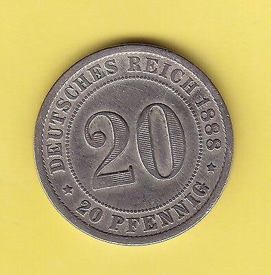 Germany Empire  20 Pfennig  1888 F  KM 9.1  VF