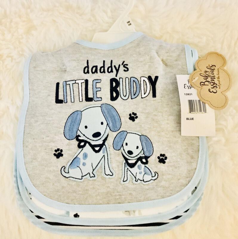 Baby Essentials 3 Pack Bibs Assorted Blue