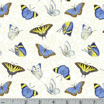 Garden Quilting Fabric - Butterflies Sunflower Garden Cotton Quilting Fabric Jane Shasky Henry Glass