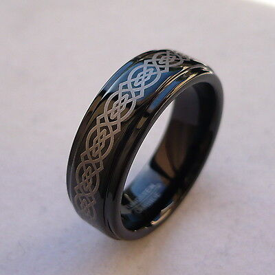 7mm TUNGSTEN CARBIDE CELTIC KNOT BLACK FINISH  MEN'S WEDDING BAND RING SIZE 5-15 7mm Tungsten Carbide Wedding Band