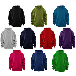 Mens-Plain-Zip-Up-Hoodie-Choose-Colour-NEW-XS-XXL