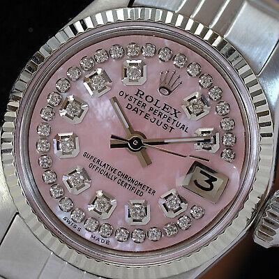 Rolex Vintage Womens Datejust 26mm Pink MOP Diamond Dial Fluted Bezel Watch