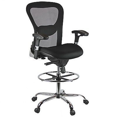 Harwick Deluxe Mesh Drafting Stool 360-degree Swivel With Arms In Black 3052d