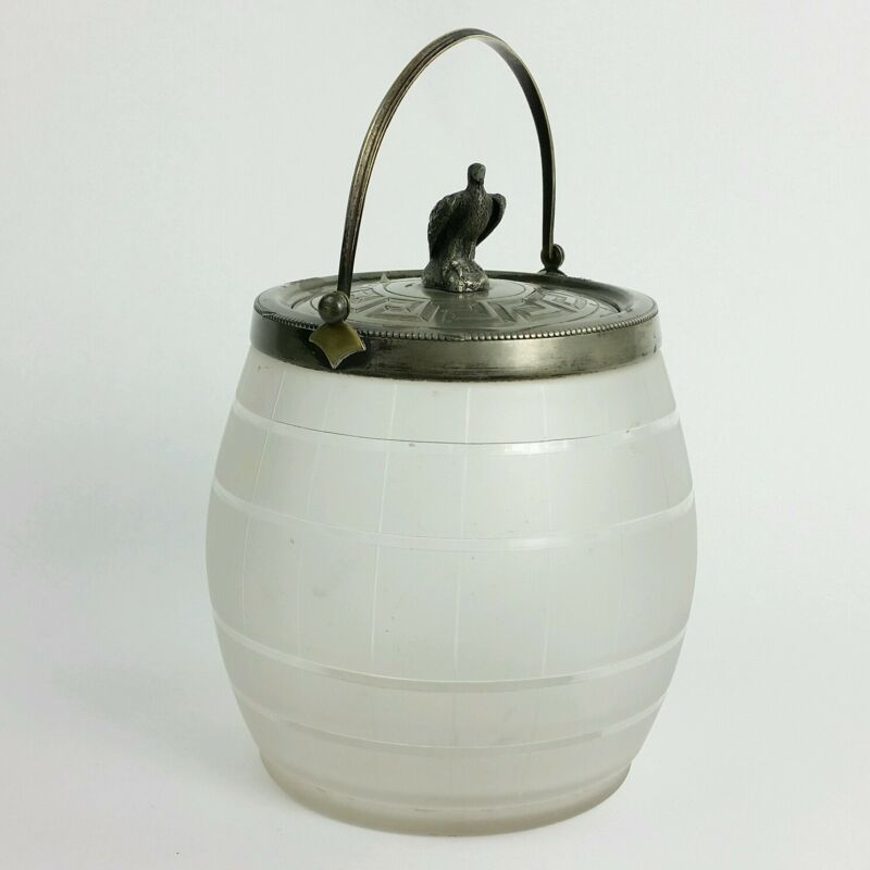 Antique English Frosted Glass Biscuit Jar with Eagle Finial