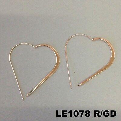 Elegant Unique Style Rose Gold Finish Heart Shape Outline Hoop Hook Earrings - Elegant Style Heart