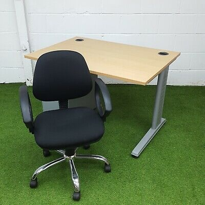 Small Beech Desk & Pedestal with Black Office Chair Bundle / Deal