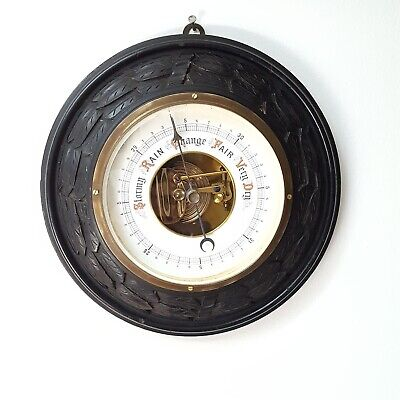 Antique English Black Forest Barometer Round Wood Frame