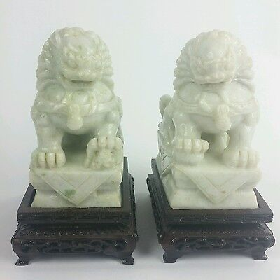 Light Green Jade Foo Dogs with Stands