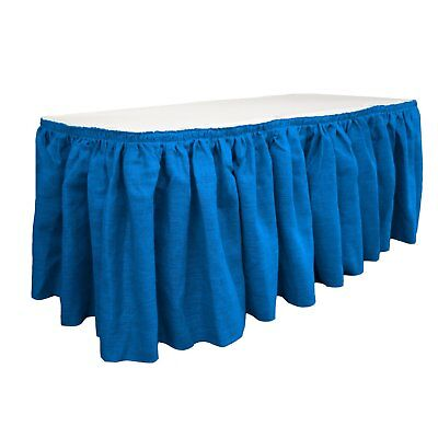 LA Linen Oversized Burlap Table Skirt 30x29 '' with 20 L-Clips Royal Blue - NEW - Oversized Tablecloths