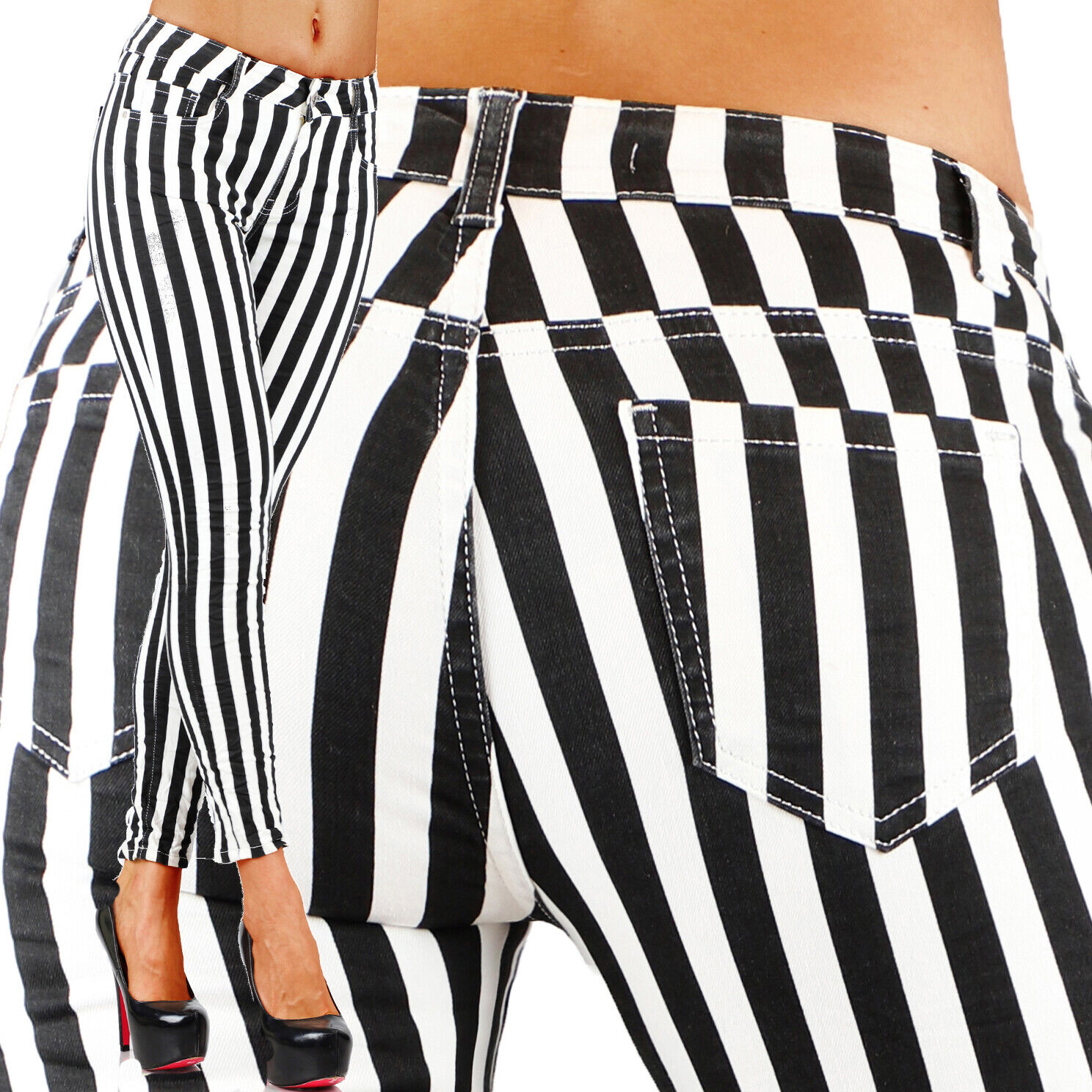 Sexy Stretchy Women's Black & White Jeans Trousers With Stra
