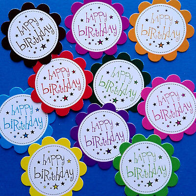 10 HAPPY BIRTHDAY SENTIMENTS - PRINTED HAND MADE CARD TOPPERS -SOLID MIX (BSO3)