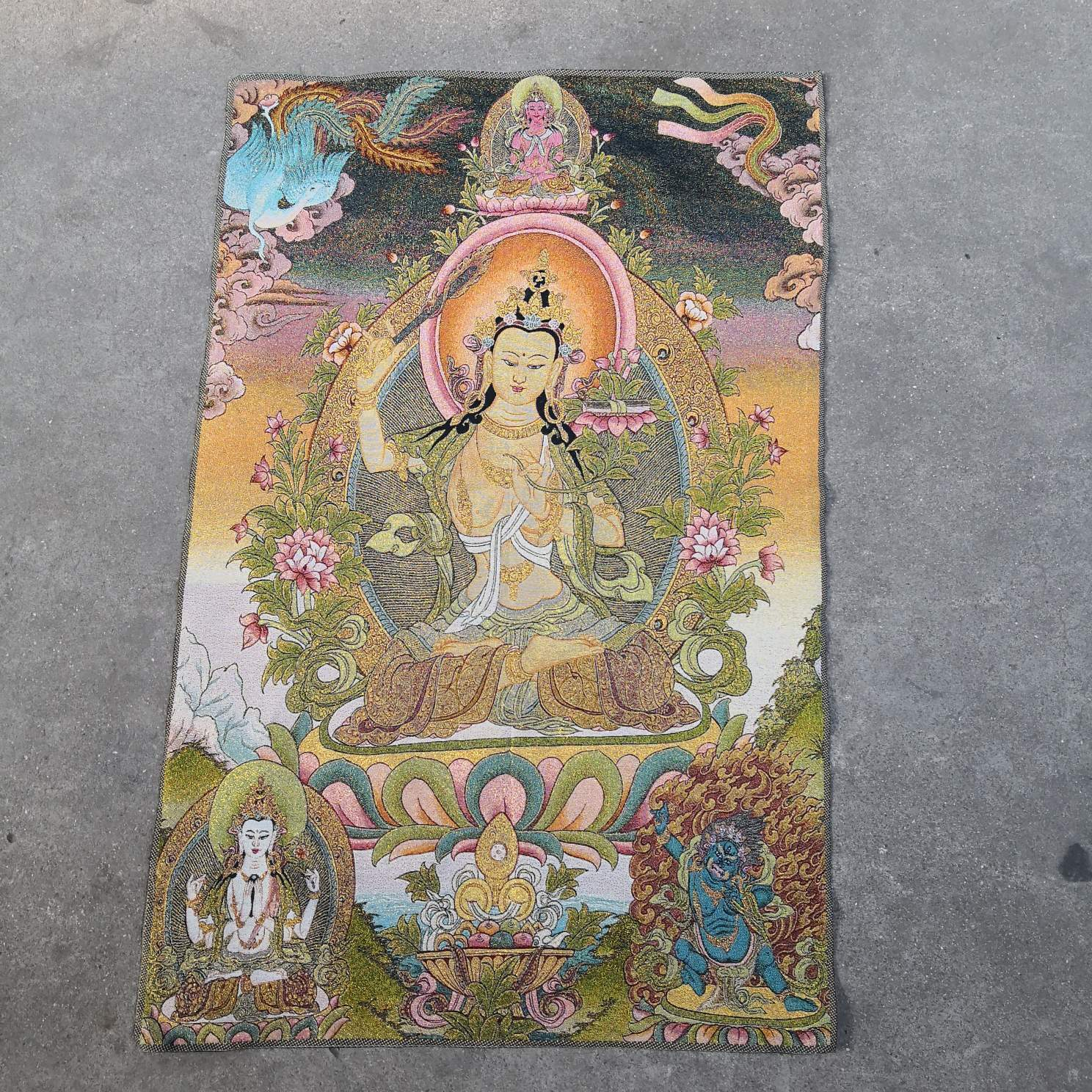 "36 /""Tibet Silk Cloth Satin Guanyin Boddhisattva Goddess Tongzi Thangka Mural"