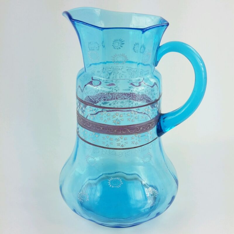 Vintage Blue Glass Pitcher with Enamel Flowers