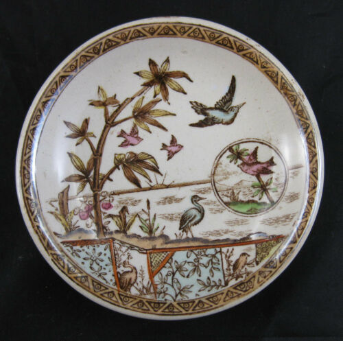 Aesthetic Movement Polychrome Transferware Butter Pat 1880– 3 available  #1