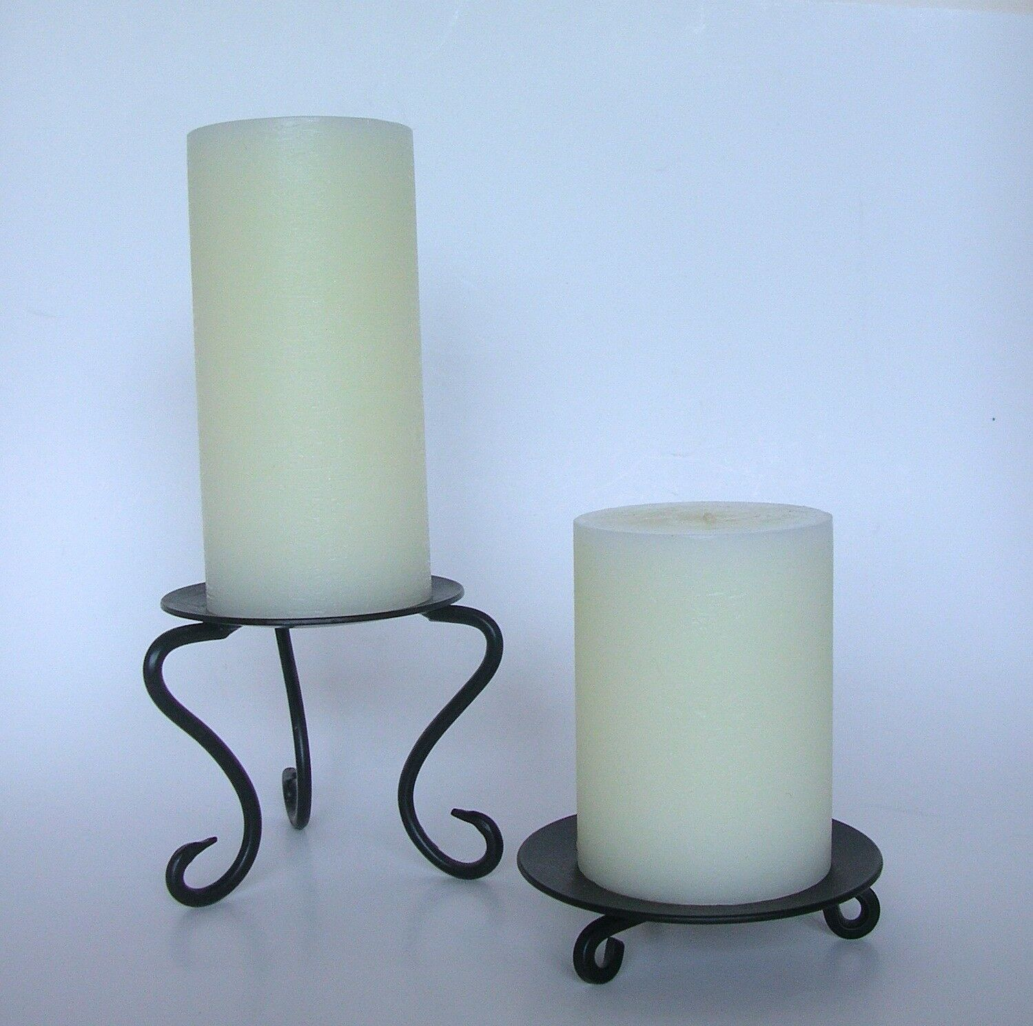 Pierre Deux 2 Scroll Foot Black Metal Candle Stands 3 6 Pillars - Nwt  - $136.86