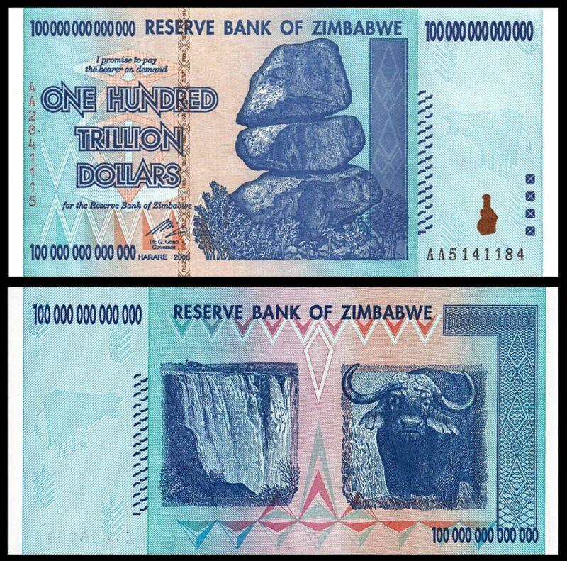 Zimbabwe 100 Trillion Dollars, 2008 P-91 AA UV Verified  Uncirculated Ship Free