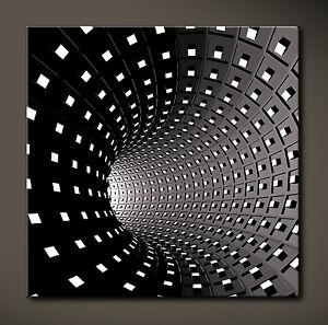 ESPRIT Abstrakt Leinwand Bild Schwarz Weiss Grau Poster Bilder 3D Kunstdruck XL